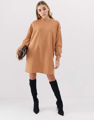 PrettyLittleThing side stripe sweater dress in camel