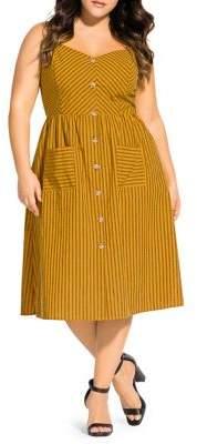 City Chic Plus Touch Striped Cotton Blend Button-Front Midi Dress