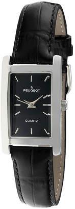 Peugeot Women's Silver Tone Black Leather Strap Watch