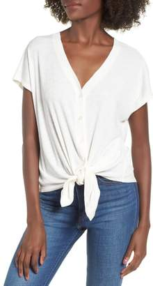 Good Luck Gem Tie Front Rib Knit Top