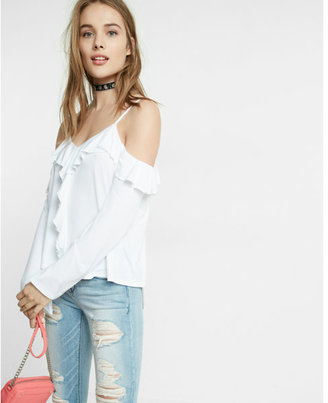 Express cold shoulder ruffle bell sleeve tee $39.90 thestylecure.com
