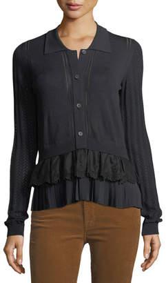 No.21 No. 21 Button-Front Long-Sleeve Mixed-Knit Top with Chiffon Ruffle