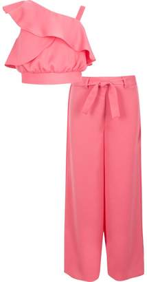 River Island Girls Pink satin crop top and palazzos outfit