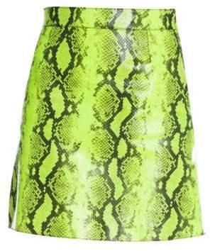Off-White Women's Python-Print Leather Skirt - Fluo Yellow - Size 44 (8)