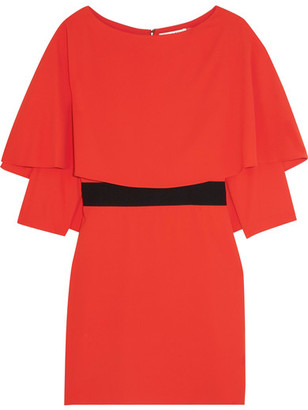 Alice + Olivia - Cairo Cape-back Crepe Mini Dress - Tomato red $330 thestylecure.com