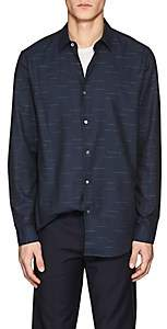 Theory MEN'S TAIT SLASH-PATTERN COTTON SHIRT-NAVY SIZE XL