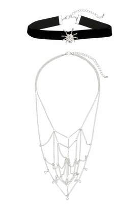 H&M 2-pack Necklaces - Black/silver-colored - Women