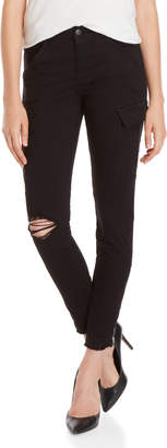J Brand Black Houlihan Mid-Rise Cargo Skinny Jeans