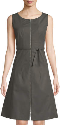 Lafayette 148 New York Coralie Belted Zip-Front Fit-&-Flare Dress, Gray