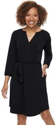 Dana Buchman Petite Belted Henley Dress