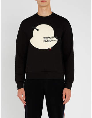 Moncler Maglia appliqué-patch cotton-jersey sweatshirt