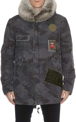 Mr & Mrs Italy Embroidery Camouflage Midi Parka