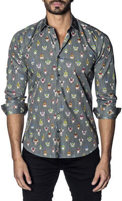 Jared Lang Men's Semi-Fitted Animals Winter Hat Print Sport Shirt