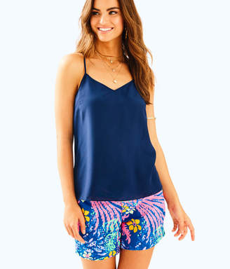 Lilly Pulitzer Womens Dusk Racer Back Silk Tank Top