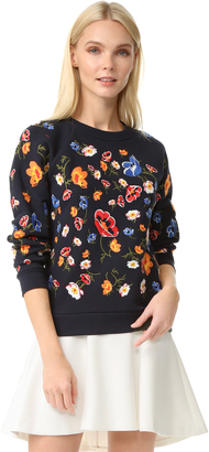 Whistles Embroidered Flower Sweatshirt $180 thestylecure.com