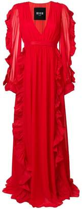 MSGM plunge-neck ruffled gown