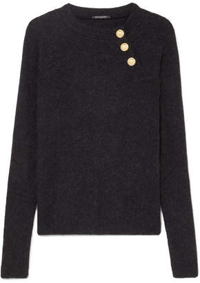 Balmain Button-embellished Knitted Sweater - Black