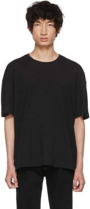 Issey Miyake Black Crepe Tuck Jersey T-Shirt