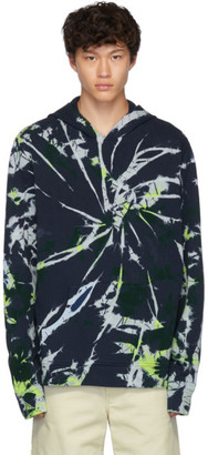 The Elder Statesman Navy Swirl Dye Fleece Hoodie