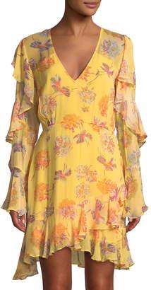 La Maison Talulah Cerulean Chiffon Floral-Print Mini Dress