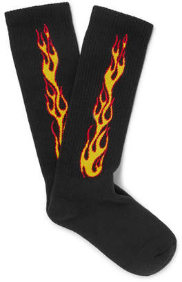 Palm Angels Flames Stretch Cotton-Blend Socks