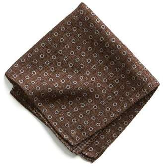 Todd Snyder Italian Wool Pocket Square in Brown Circle