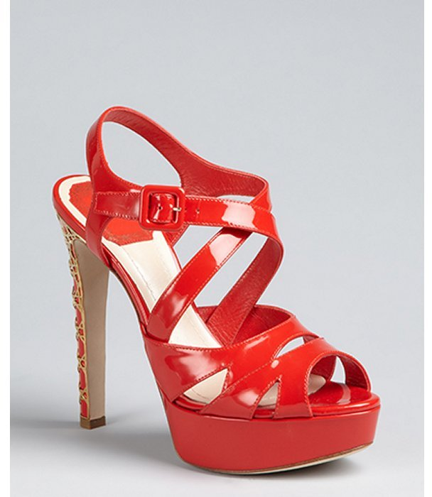 Christian Dior tomato red patent leather cannage peep toe platforms