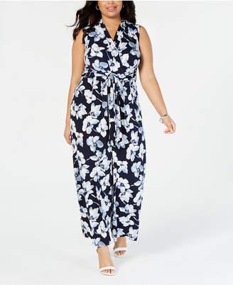 bd3c5b24688c Jessica Howard Plus Size Floral Wrap Jumpsuit