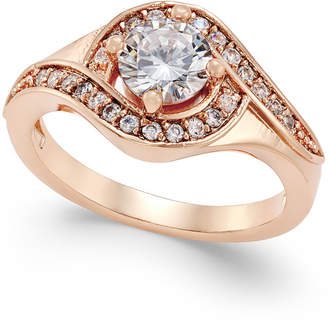 Charter Club Rose Gold-Tone Crystal Solitaire Twist Ring, Created for Macy's