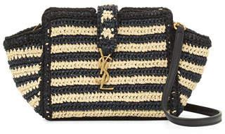 Saint Laurent Striped Raffia Small Cabas Crossbody Bag, Neutral $1,290 thestylecure.com