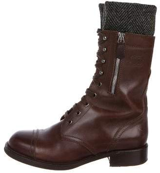 Chanel Leather Military Boots