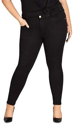 City Chic Plus Asha Skinny Jeans in Black