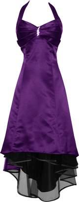 PacificPlex Satin Halter Dress Prom Bridesmaid Holiday Junior Plus
