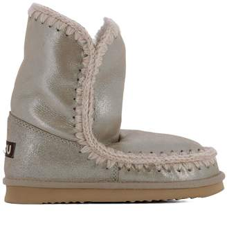 Mou Beige Leather Ankle Boots