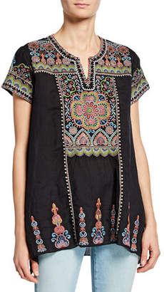 Johnny Was Tamia Embroidered Draped Top