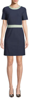 Tory Burch Colorblock Ponte Short-Sleeve Dress