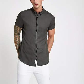 River Island Khaki green slim fit short sleeve shirt