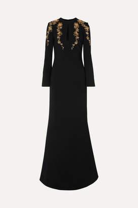 Reem Acra Embellished Crepe Gown - Black