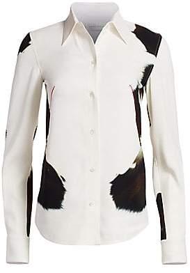 ca6c0a244d280b Victoria Beckham Women s Silk Abstract Animal Print Shirt