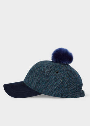 Paul Smith Women's Navy Herringbone Wool Pom-Pom Cap
