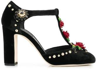 Dolce & Gabbana embroidered T-straps pumps