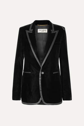 Saint Laurent Satin-trimmed Velvet Blazer - Black