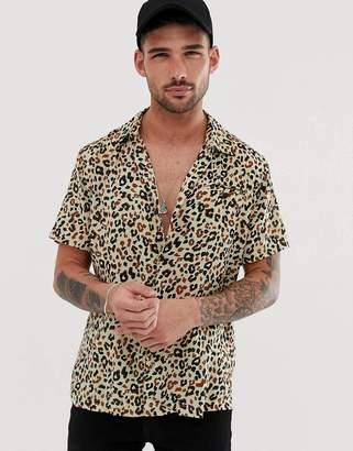 Bellfield short sleeved leopard print shirt