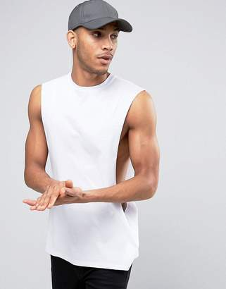 Asos DESIGN Oversized Sleeveless T-Shirt With Extreme Dropped Armhole In White