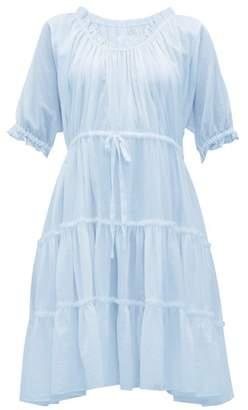 Loup Charmant Kassos Ruffled Cotton Poplin Midi Dress - Womens - Light Blue