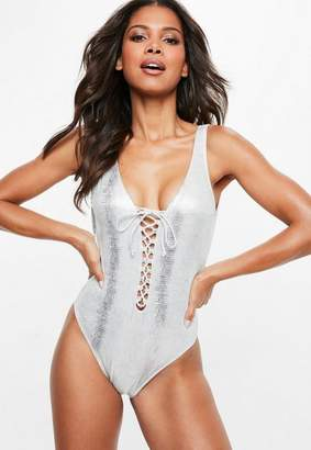Missguided White Metallic Snake Print Lace Up Swimsuit