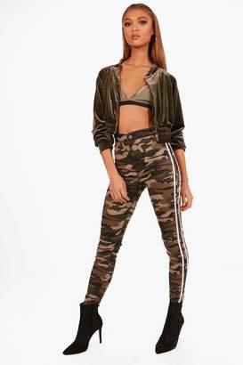 boohoo Camo Stripe Rip Knee Skinny Tube Jeans