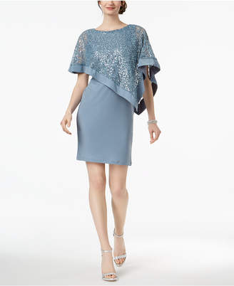 R & M Richards Petite Sequined Cape Sheath Dress