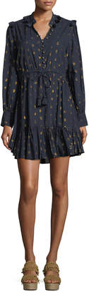 Figue Emma Long-Sleeve Drawstring-Waist Metallic-Dot Mini Cocktail Dress