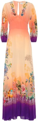 Etro Printed silk crepe maxi dress